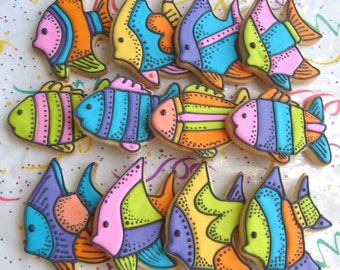 Tropical Fish Decorated Cookie Favors - Fish Cookies - Fish Decorated Cookies - 1 Dozen