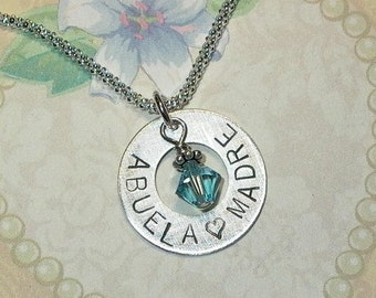 Abuela Madre Grandma Mom Mothers Hand Stamped Sterling Silver Birthstone Charm Necklace, Abuela Gift, Mothers Necklace