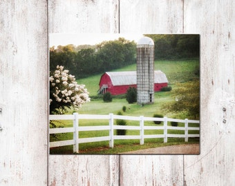 Large Canvas Art, Red Barn Canvas Print, Red Barn with Silo Photography Print, Farmhouse Canvas, Framed Red Barn Farm with Silo Canvas