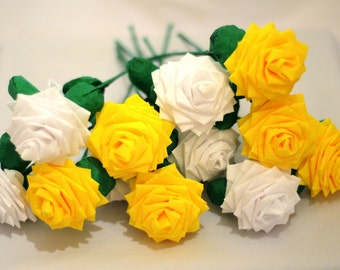 Paper Flowers Bouquet Dozen (12) Long-stem White and Yellow (Sunshine and Clouds)