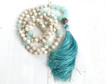 ENERGIZE YOUR AURA - Riverstone and Amazonite Mala Beads - Pyrite Guru Bead - Knotted Silk Tassel Mala - 108 Mala Beads - Yoga Beads