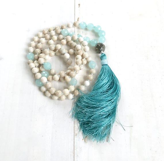 Riverstone and Amazonite Mala Beads, Pyrite Guru Mala Necklace, Knotted Silk Tassel Mala, Unique Mala Beads, Yoga Beads