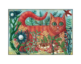 Ginger Cat in the Garden Fine Art Print