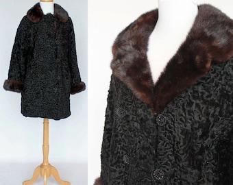 60's Persian Lamb Jacket / Dark Mink Collar & Cuffs / Double Breasted / Small to Medium