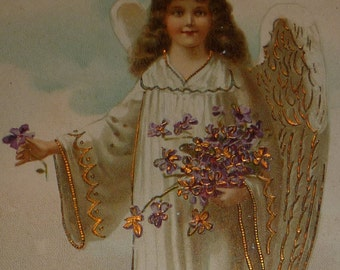 Angel in White With Violets Antique Easter Postcard