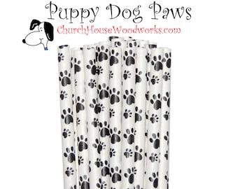 Puppy Dog Paws Paper Straws: Wedding, Baby Shower, Birthday Party, Bridal Shower, Wedding Venue, Table Decor, Drinking Straw