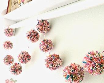 Pom Pom Garland Yarn Fuchsia + Pink + Sage + Purple + Orange Multi Color Birthday Pom Pom Garland Baby Bridal Shower Photo Prop 8 Ft.
