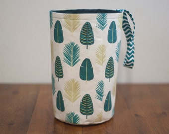 Handmade fabric storage basket, revarsable round fabric bin, green leaf design,hanging basket