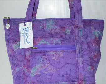 Quilted Fabric Bag Beautiful Purple Batik Fabric