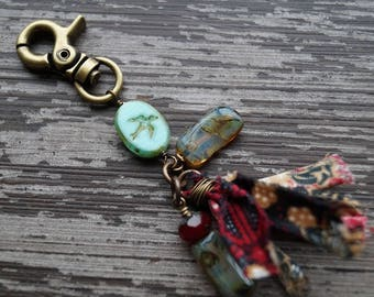 Boho Zipper Pull - Keychain - Red and Turquoise Keychain - Silk Tassel - Purse Charm - Bead Soup Jewelry