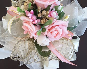 Pink ,ivory and gold corsage,  Wedding corsage,  Prom corsage