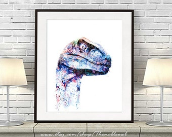 T-rex print dinosaur wall art print blue decor kids dinosaur painting boy wall decor dinosaur illustration blue home decor - R42