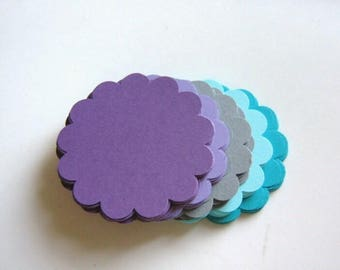 60  Scalloped Circle Die Cuts 2.5 Inch, Round Cut Out, Purple Gray Blue