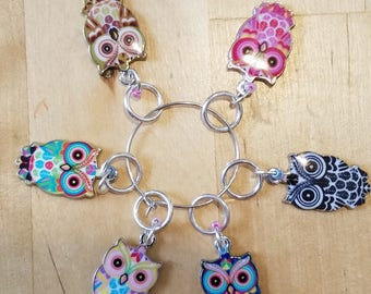 Colorful Owl Knit Stitch Markers knitters gifts knitting handmade crochet