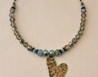 Heart Necklace, Vintaj Jewelry, Valentines, Vintaj Necklace, Love Jewelry, Patina Metal, Turquoise Heart, Hand Painted