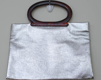 Space Oddity 1960s 1970s Space Age Silver Vinyl Tote Bag with Acrylic Handles Metallic Bakelite