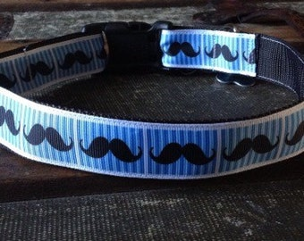 "Dog collar Blue Striped Moustache 1"" thick Movember theme"