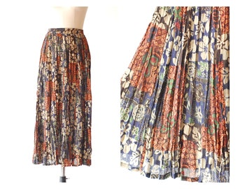 vintage cotton floral print maxi skirt / size small medium