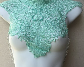 PATRICIA lace choker collar top mint green