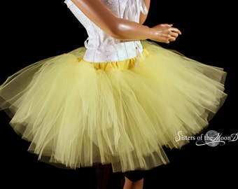 Yellow tutu skirt puffy three layer petticoat dance costume roller derby race petticoat wedding - You Choose Size - Sisters of the Moon