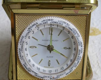 Phinney & Walker Travel Alarm Clock with International Ring, works