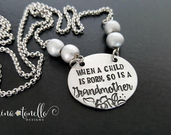 Grandma Necklace, Grandmother Jewelry, New Grandma Gifts for Grandma, Pregnancy Reveal to Grandparents, Grandma to Be, Baby Announcement