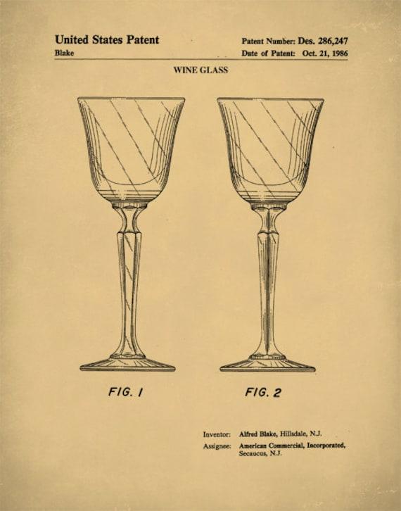 Patent Print Wine Glass Patent Wine Glass Art Wine Glass
