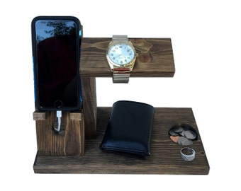 iPhone Dock Station / iPhone Valet / Cell Phone Holder Organizer / Watch Stand / Docking Station / 10 Color choices  (1H)