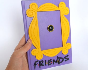 FRIENDS tv show inspired journal -Yellow peephole frame  from polymer clay -polymer clay journal- polymer clay notebook- journal cover