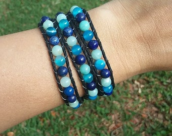 Water Element Bracelet- Triple Wrap Bracelet- Hemp Wrap Bracelet- Healing Crystal Jewelry- Elemental Jewelry- Lapis Lazuli, Amzonite, Agate