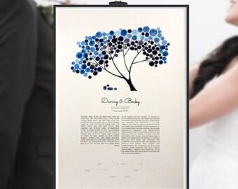 Wedding marriage certificate Ketubah giclée art print - jewish wedding Custom ketubah - TREE SHADE NAP