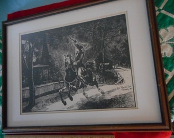 2 R Kennedy 1967 Drawings Original Pen Ink Paul Revere's Ride & Revere House 17x13 Wood Frame