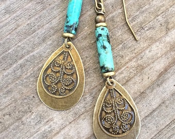 Turquoise Earrings Dangle, Drop Boho Earrings Dangle, Boho Jewelry, Boho Brass Earrings, Turquoise Jewelry, Dangle Drop Earrings