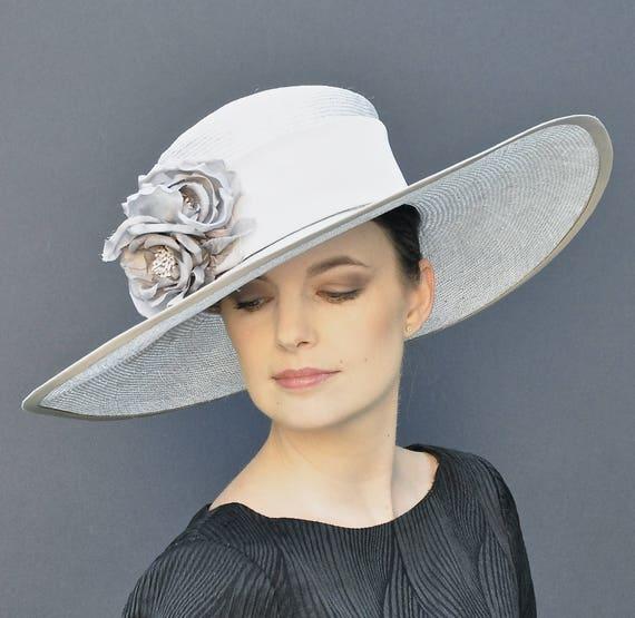 Formal Hat, Wedding Hat, Dressy Hat, Wide Brim Hat, Ascot Hat, Taupe Gray Straw Hat, Ladies hats, Elegant Hat, Occasion Hat