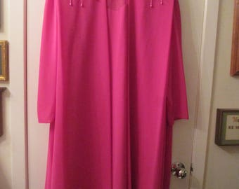 Vintage Ursula of Switzerland dark pink chiffon size 22 formal dress with beaded shoulder trim. Perfect mother of the bride or groom formal.