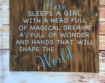 Here Sleeps A Girl With A Head Full Of Magical Dreams Wood Sign