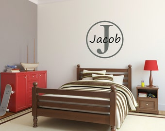 Personalized Name Wall Decal Vinyl Wall Decals For Boys Teen Boy Bedroom Wall Decal Frame Wall Vinyl Decal Initial and Name Decal