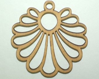 Wooden Filigree Engraved 2 Pendants included 55 mm