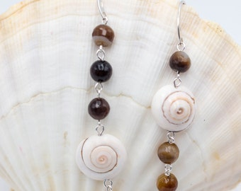 Silver earrings with striated agates and snail shells