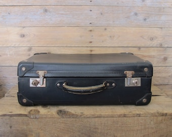 Vintage old French navy cardboard suitcase