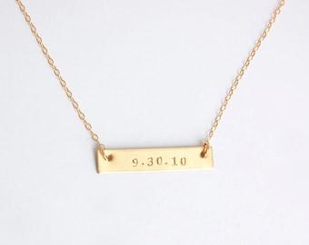 Gold bar wedding date, anniversary date, birth date necklace