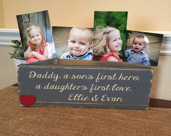 Father's Day Gift for dad husband from kids Personalized picture frame photo block gift for dad daddy father from kids baby grandpa papa