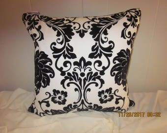 Velvety White with Black Damask Pillow