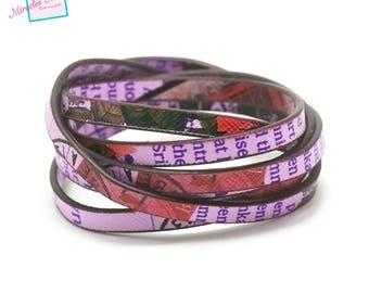 """1 m strap leather 5 x 2 mm """"magazine"""" Purple/multicolor"""
