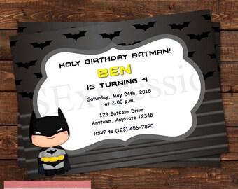 Bat Boy Super Hero Birthday Party Invitation