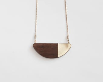WALNUT MID CENTURY half moon necklace/modern necklace/minimalist necklace/half circle necklace/wood jewelry/nordymade/nordy