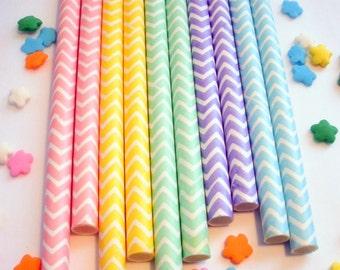 50 Pastel Rainbow Chevron Paper Straws