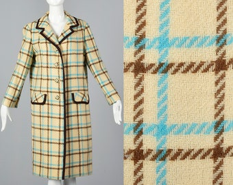 Large Autumn Jacket Winter Coat Cream Wool Brown and Teal Plaid Long Sleeves Decorative Buttons 1960s 60s Vintage