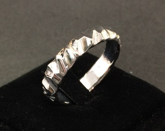 IceBand - Handmade Ring, Organic Solid Silver band (One Ring)