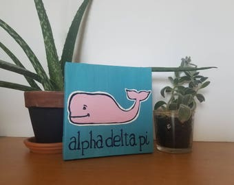 Greek Sorority vineyard vines whale canvas - handmade , made to order